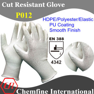 White HDPE/Polyester/Elastic Knitted Glove with PU Coated Palm/ En388: 4342 pictures & photos