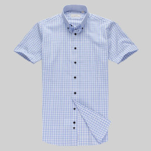 Men′s Casual Short Sleeve Cotton Polyester Shirt