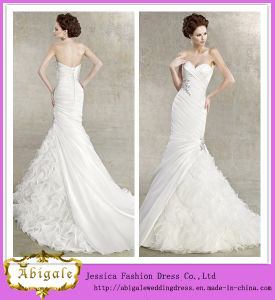 New Hot White Mermaid Ruffles Beaded Sweetheart Organza Sleeveless Wedding Dresses China Yj0027