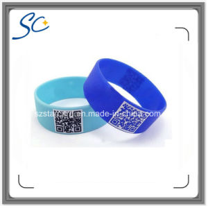 Mf 1k S50 RFID Silicone Wristband with Silkscreen Printing Logo