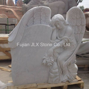 European Style White Marble Angel Tombstone