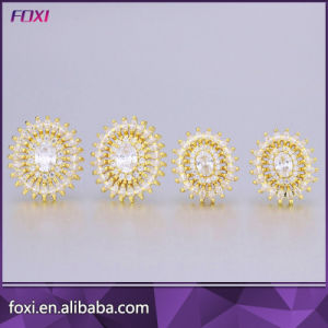 Clear Stone Gold Brazilian Jewelry Stud Earrings