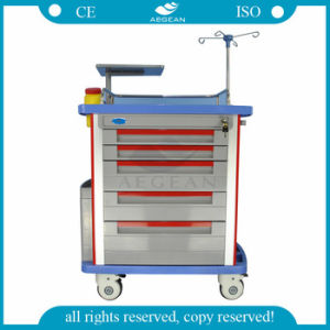 Hospital Use ABS Emergency Trolley with Drawers pictures & photos