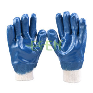 Blue Nitrile Dipped Gloves Safety Industrial Work Glove in China