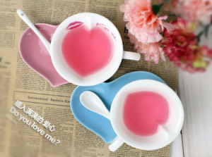 Wholesale Heart Shaped Custom Ceramic Coffee Mug with Plate pictures & photos
