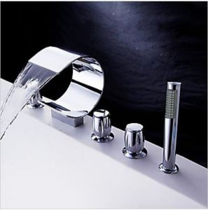 5 Piece Widespread Brass Waterfall Tub Water Mixer with Hand Shower pictures & photos