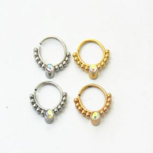 China New Rhinestone Non Piercing Hanger Clip Septum Clicker Nose Ring China Segment Piercing Navel Ring