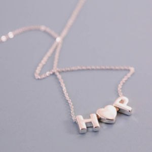 Wholesale Rose Gold Chain Slide Letter Heart Pendant Jewellery Necklace