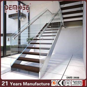 Silver Color Keel Solid Wood Tread Indoor Metal Stairs (DMS 2038)