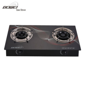 Hot-Selling Black Tempered Glass Two Burner Gas Stove