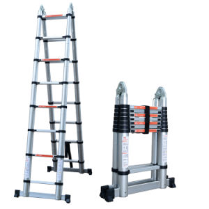 2 in 1 One Double Using Telescopic Aluminium Ladders a Type 2 5+2 5m  Straight Height 5m