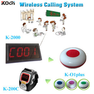 Wireless Call System Calling Number Display K-2000 Waiter Watch Pager K-200c with Restaurant Call Button K-O1plus pictures & photos