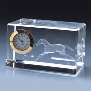 Customized Logo Crystal Office Decoration Souvenir Crystal Clock pictures & photos