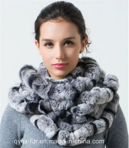 Winter Warm 100% Real Rex Rabbit Fur Scarf (Qy-S6)