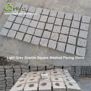 Light Granite Granite Sqaure Meshed Cobble Paving Stone for Patio Paver pictures & photos