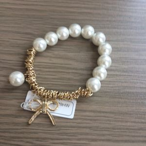 Pearl Metal Bracelet with Bow Pendant Fashion Jewelry