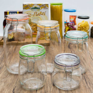 Factory Wholesale High Quality Bamboo Clamp Lid Food Storage Glass Bottle (100044)