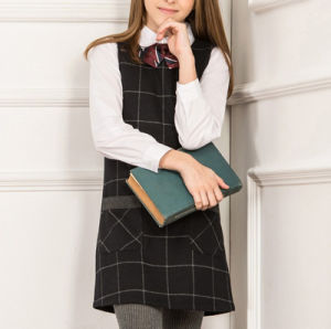 OEM Hot Sale School Uniform One Piece Sleeveless Girl′s Dress with Shirt