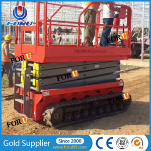 10m 300kg Best Industrial All Terrain off Road Electric Scissors Lift  Manufacturers Price