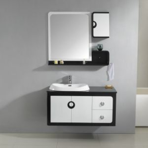 Bathroom Basin with Mirror for High Gloss Black and White Bathroom Cabinets
