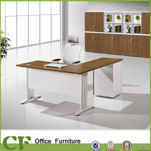 L Shape Metal Leg Office Executive Table With Side