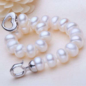Freshwater Pearl Bracelet, 9-10mm Natural Button Round Shape pictures & photos