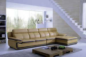 Luxurious Top Grain Brown Leather L Shape Sectional Sofa pictures & photos