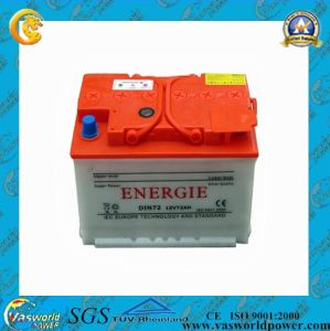 DIN Standard Dry Charged Car Flooded Battery 12V 72ah pictures & photos