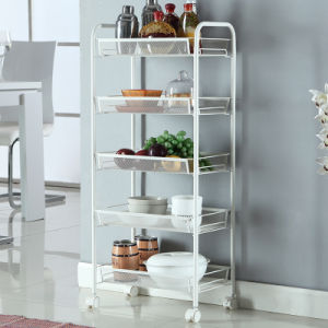 5 Tier Metal Material Food Storage Shelf Cart Kitchen Accessories Trolley Wire Rack
