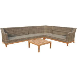 Simple Outdoor Furniture L Shaped Rattan Corner Sofa Set