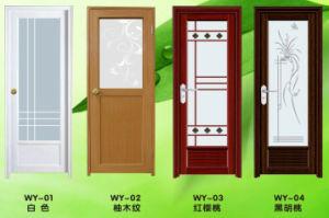 China Conch Color PVCUPVC Bathroom Door With Frog Artistic Glass - Pvc bathroom doors