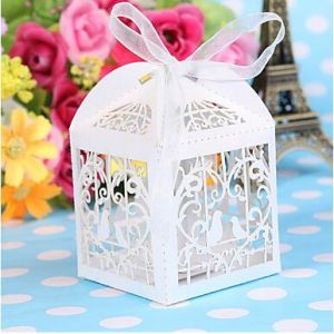 Romantic Love Birds with Heart Style Laser Cut Boxes Wedding Favors Party Supplies
