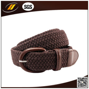 Mens Elastic Braided Belt with Covered Buckle