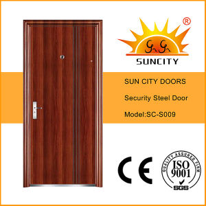 Flush Single Designs Security Steel Iron Door for Exterior (SC-S009) pictures & photos