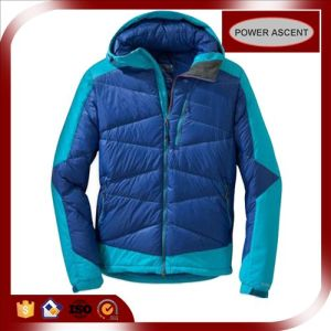 2015 Mens Contrast Color Patch Blue Winter Down Jacket pictures & photos