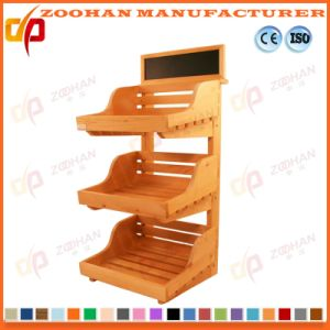 China Supermarket Wooden Fruit And Vegetables Shelving Slanted