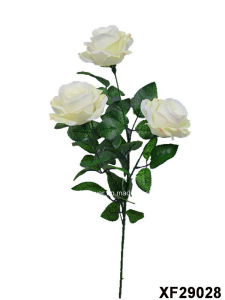 Artificial/Plastic/Silk Flower Single Stem of Rose with 3 Branches (XF29028) pictures & photos