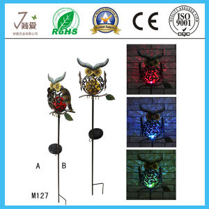 Solar Owl Iron Art and Crafts for Garden Decoration