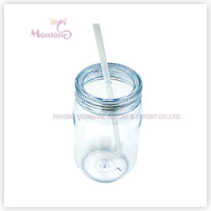 Promotional BPA Free Plastic Mason Jar Cup with Straw pictures & photos