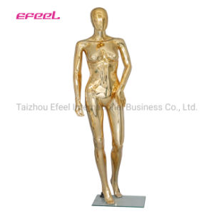 Plastic Chrome Gold Female Abstract Mannequin Display Head