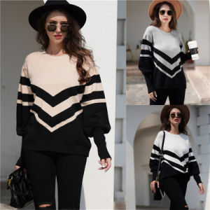 Korean Fashion Lady Oversize Striped Long Sweater Jumper Women Strip Pattern Round Neck Knit Pullover
