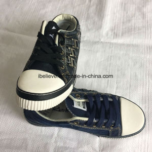 Washed Denim Shoe Upper with Rubber Outsole