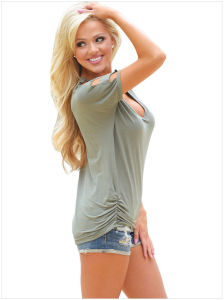 Cold Shoulder Ruched Sides T-Shirt pictures & photos