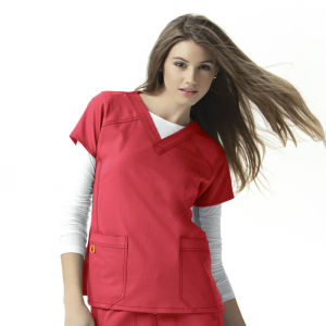 Womens Stretch Sporty V-Neck Scrub Short Sleeve Nurse Uniform (A612)