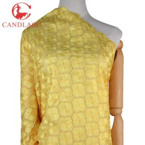Yellow Color African Swiss French Lace Fabric for Party Dress pictures & photos