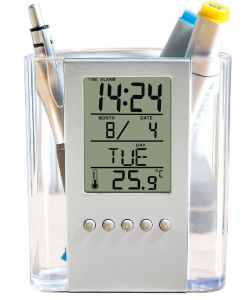 Digital Table Alarm Clock with Penholder and Temperature pictures & photos