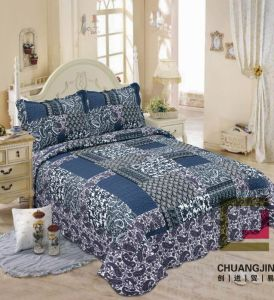 Printed 100% Microfiber Fabric Quilt/Bedding Set