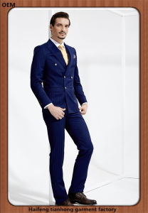 Double Breasted Men Stripe Navy Wedding Formal Suits