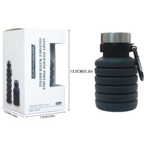 100% BPA Free and FDA Approved Eco Friendly 500ml PVC Folding Silicone Bottle Collapsible Water Bottle with Custom Logo