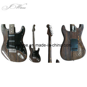 Solid Zebra Wood Body Quality St Electric Guitar